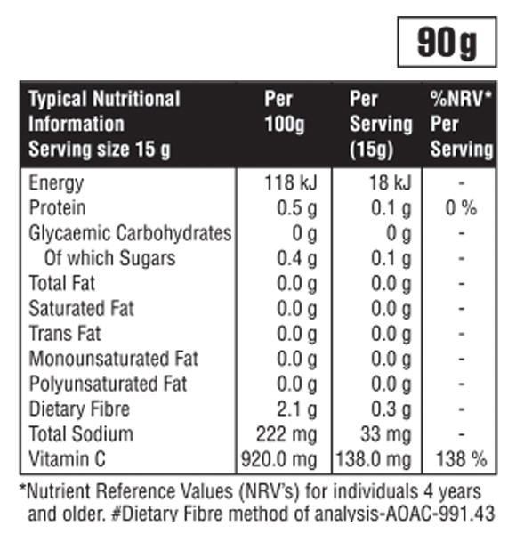 Typical Nutritional Information